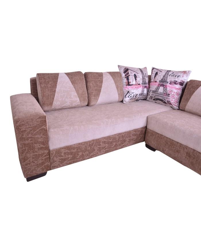 Sofa Sets Online: Buy Online Wooden Designer Cushions L-Shaped Sofa Set For