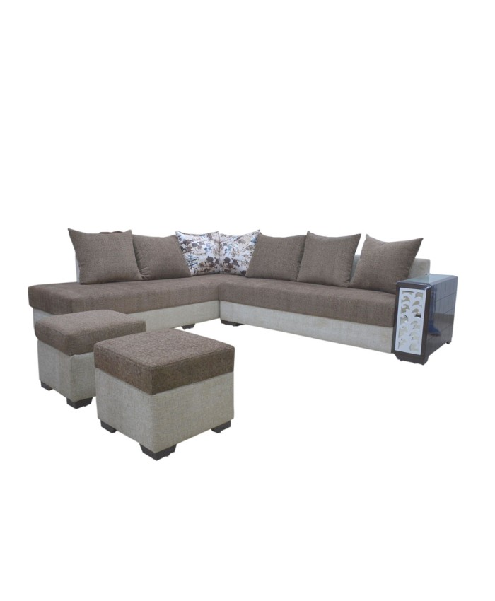 Combination Of Two Colour L-Shaped Sofa Set With Cushions And Pouffes