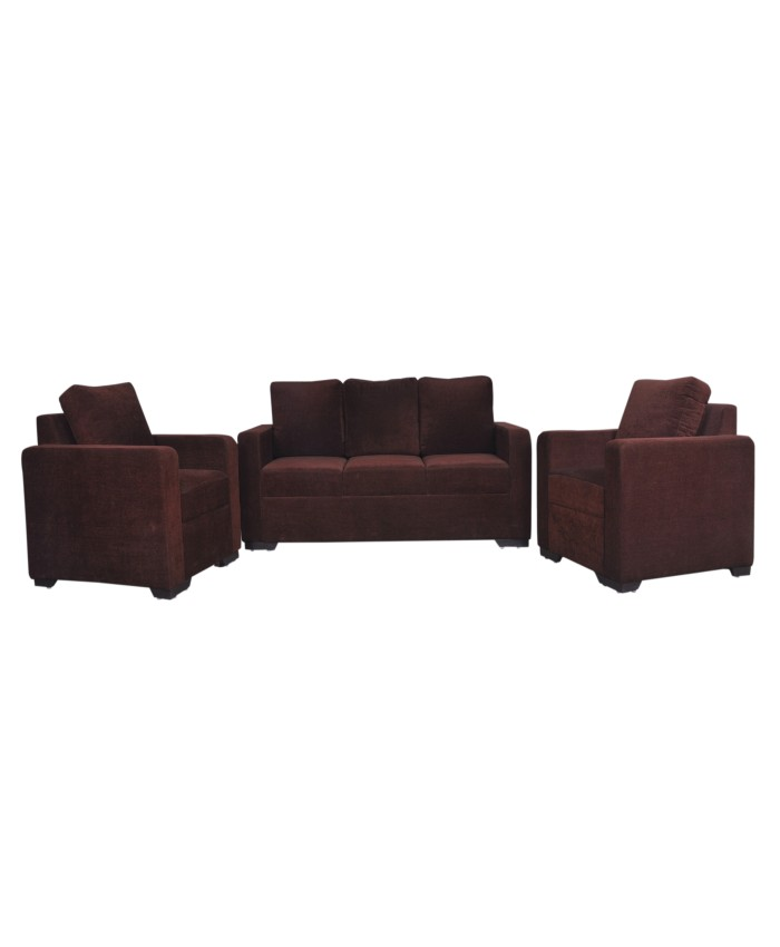 Fully Covered Dark Brown Coloured Sofa Set Of 3+1+1