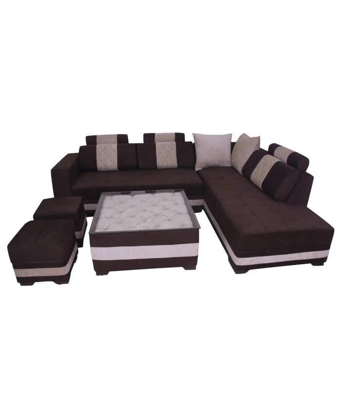Brown Coloured Lshape Sofa