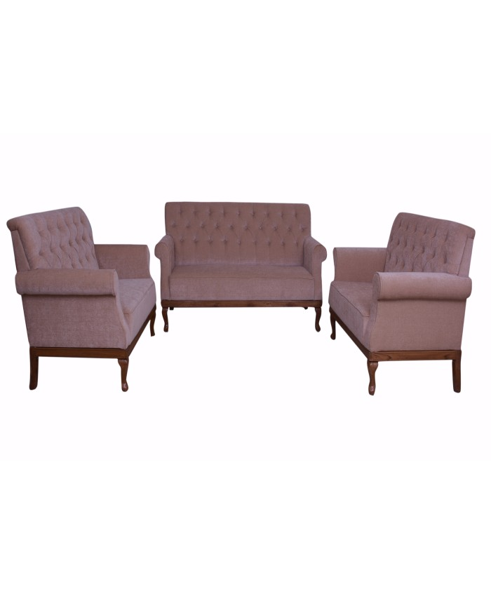 Wooden Light Colour Beige Fabric Set Of Sofa-3+2+2