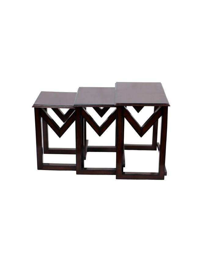 Espresso Teak Wooden M Nesting Table-Set of Three