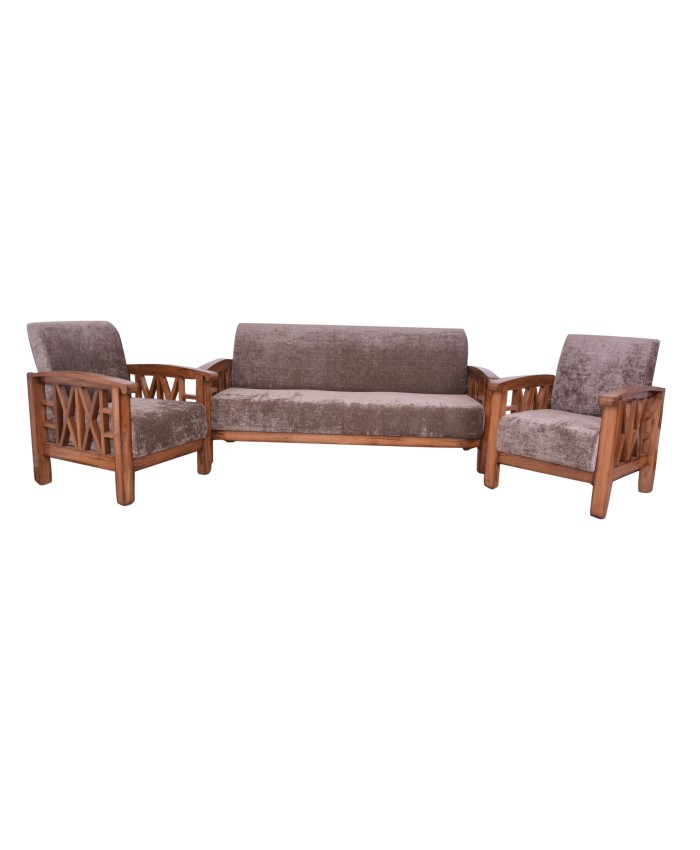 Teak Wooden Side Cross Design Sofa 3+1+1