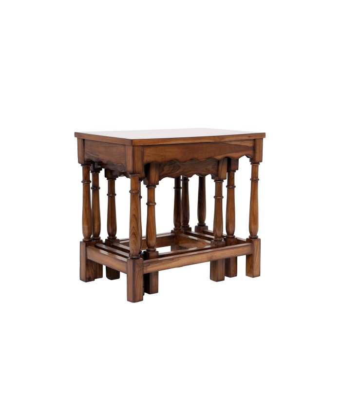 Natural Teak Wooden Nesting Table-Set of Three