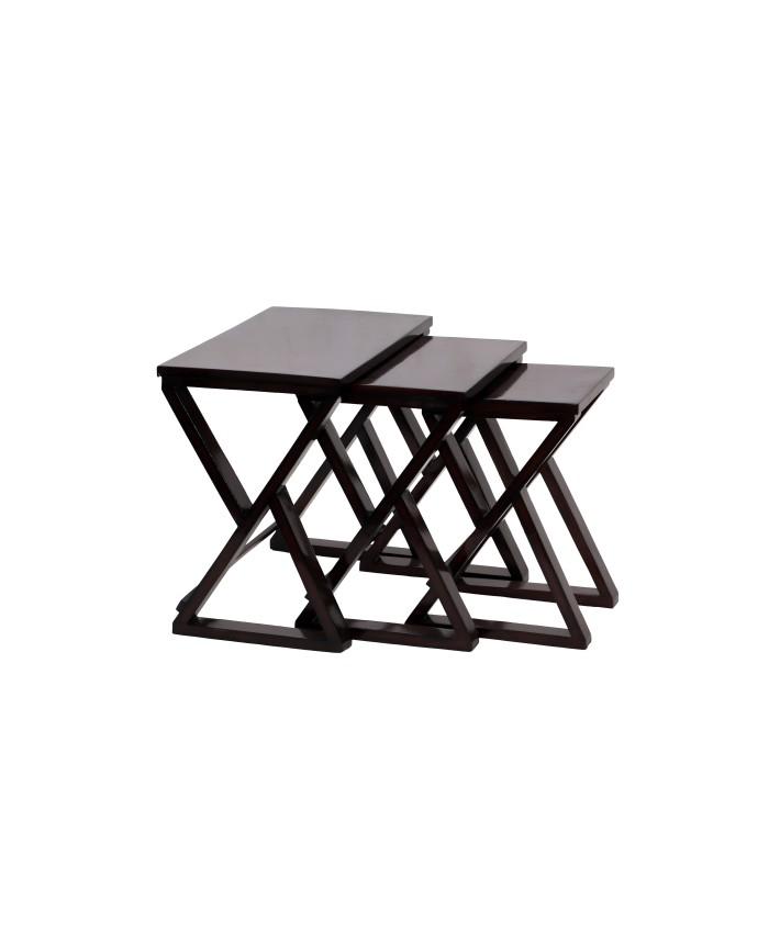 Espresso Teak Wooden Cross Nesting Table-Set of Three