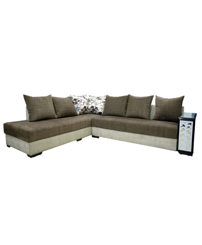 Combination Of Two Colour L-Shaped Sofa With Cushions