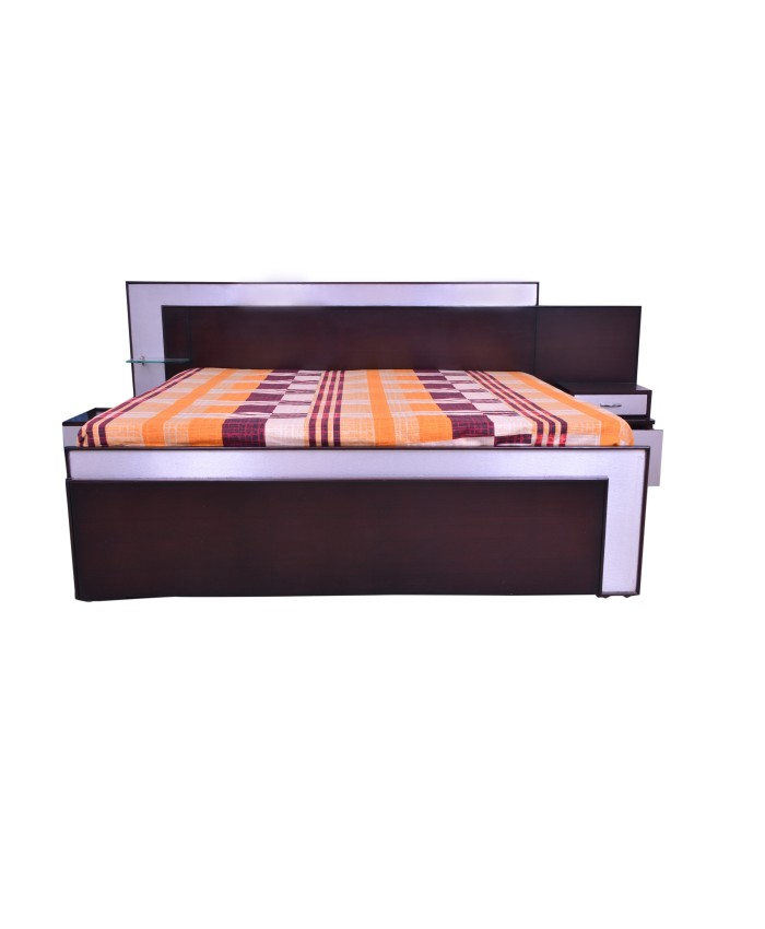 Espresso Double Bed With Storage Boxes And End Silver Design