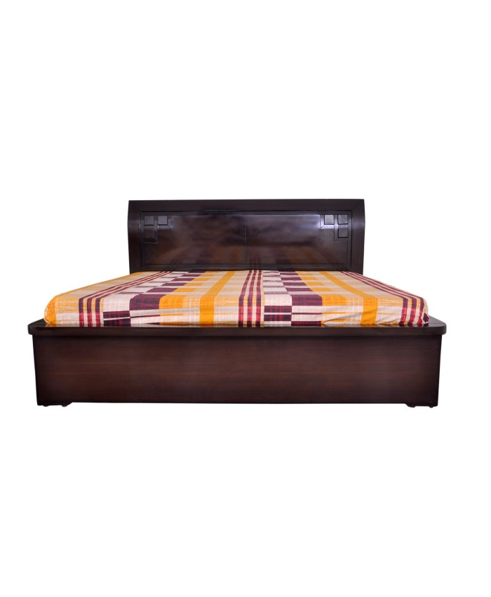 Espresso Wooden Double Bed With Storage Boxes