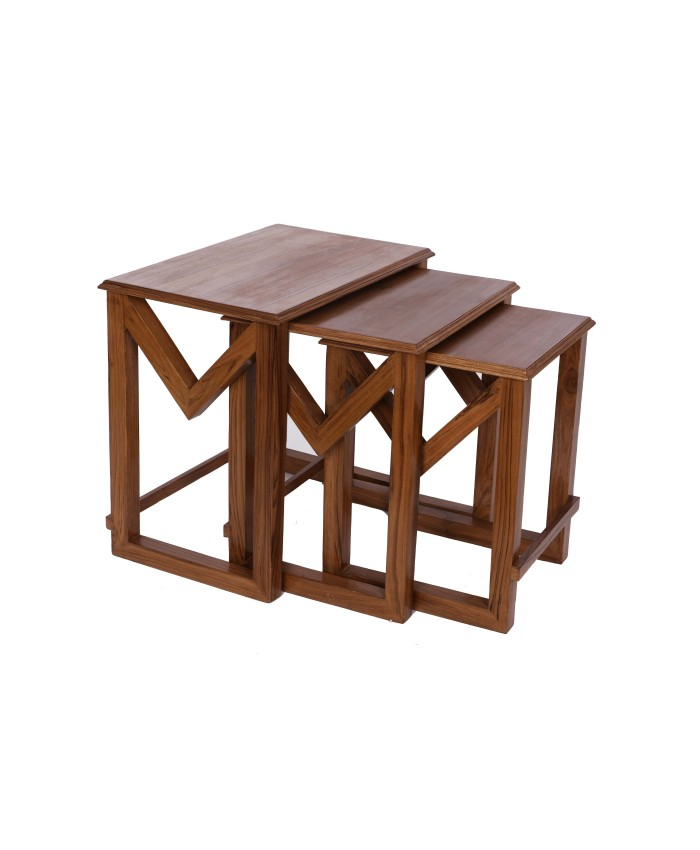 Natural Teak  Wooden M Nesting Table-Set Of Three