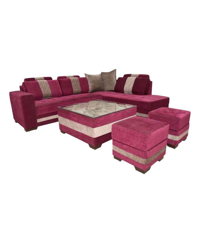Pink Cloured L-Shape Sofa Set