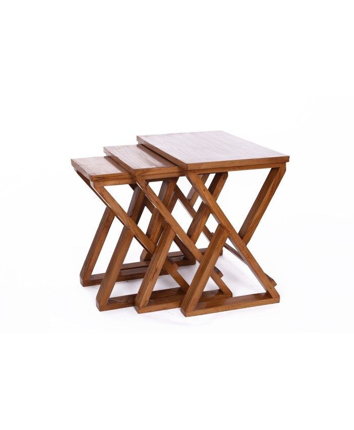 Natural Teak  Wooden Cross Nesting Table-Set Of Three