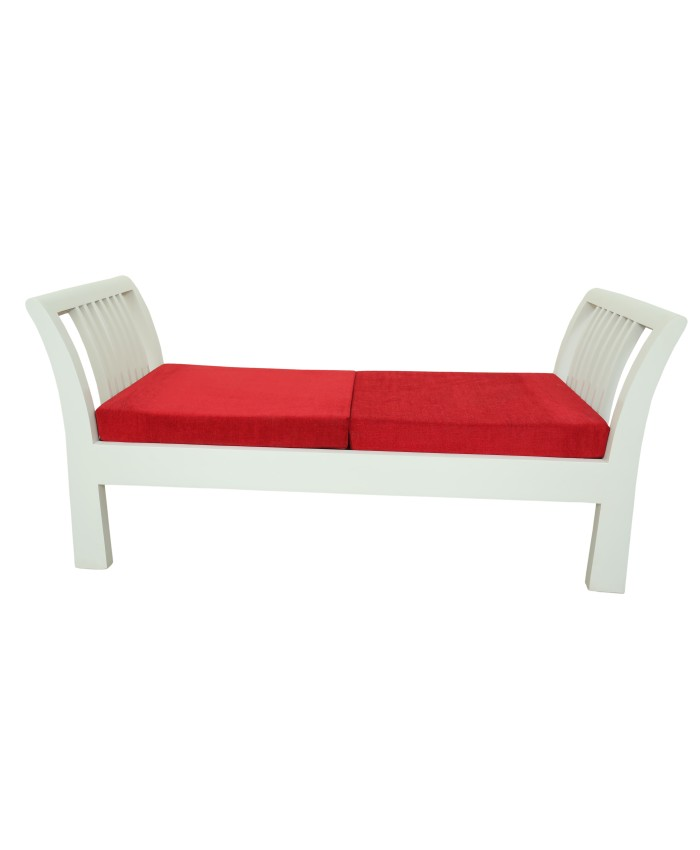 Wooden Red And White Adorable Divider Settee For Living Room